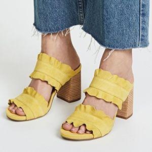 FREE PEOPLE Rosie Suede Ruffle Heel Sandals